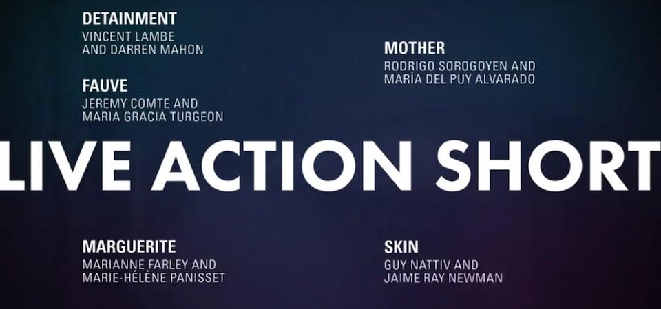 Les films en nomination aux Oscars dans la catégorie meilleur court-métrage de fiction