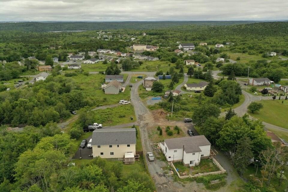 Des maisons et des routes au milieu des arbres en été, le tout filmé par un drone.