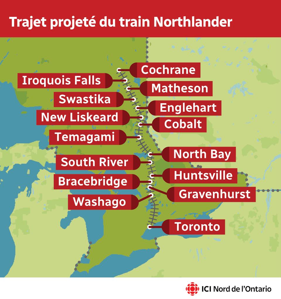 Une carte du trajet projeté du train Northlander, qui arrêterait aux endroits suivants : Toronto, Washago, Gravenhurst, Bracebridge, Huntsvill, South River, North Bay, Temagami, Cobalt, New Liskeard, Englehart, Swastika, Matheson, Iroquois Falls, Cochrane.