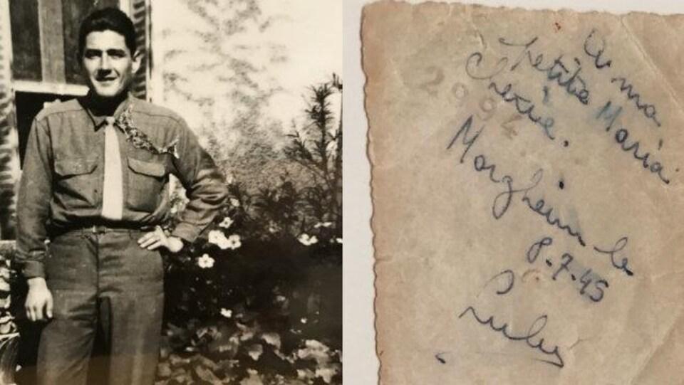 La photo du soldat avec une note inscrite en arrière