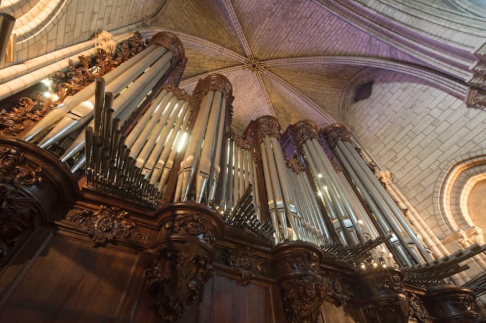L'orgue de la cathédrale, vu en contre-plongée.