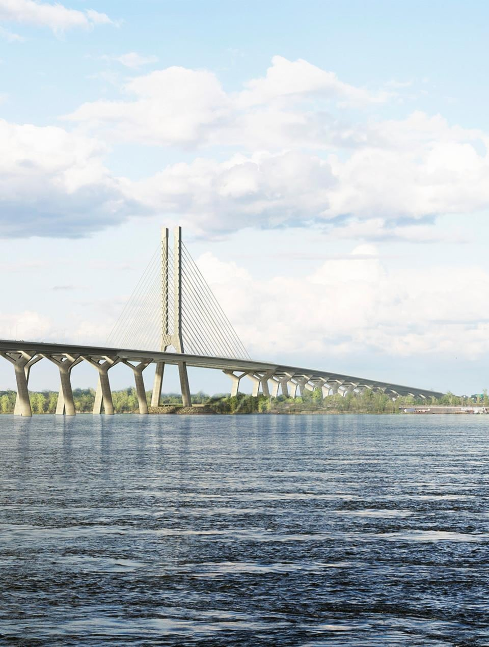 Aperçu de ce dont aurait l'air le nouveau pont Champlain. La structure est épurée et comprend un seul pilier, à mi-chemin.
