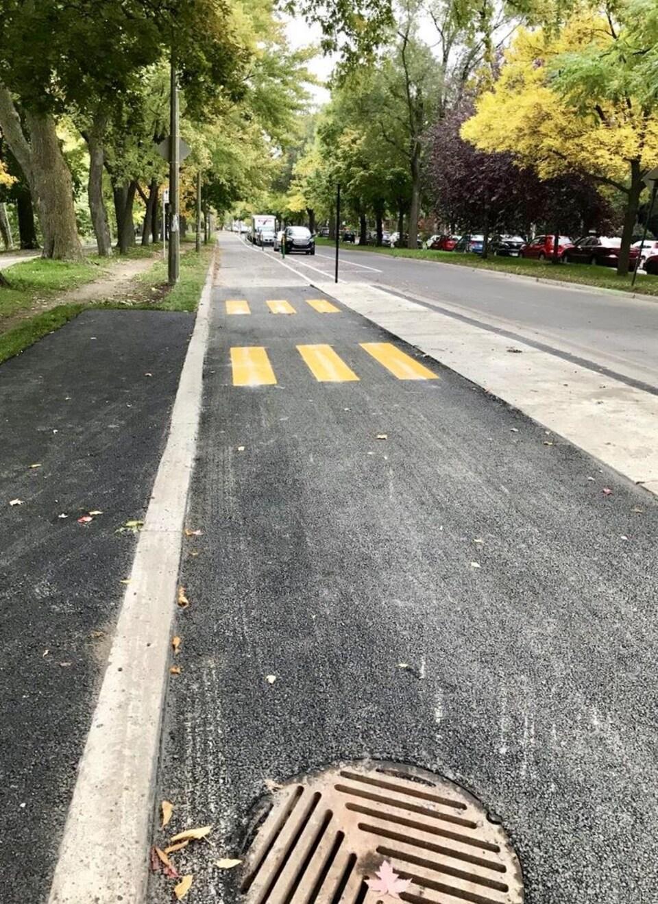 La piste cyclable, fraîchement aménagée, en sens contraire de la voie réservée aux véhicules.