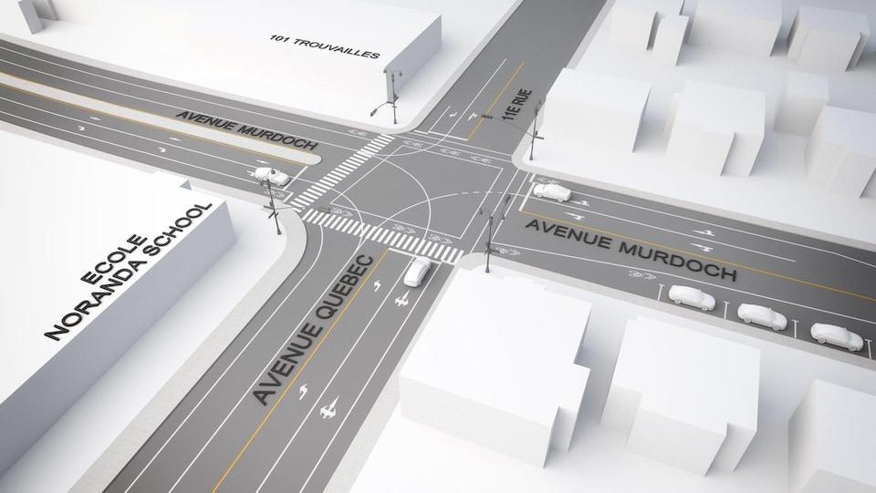 Un plan d'une partie de la ville de Rouyn-Noranda.