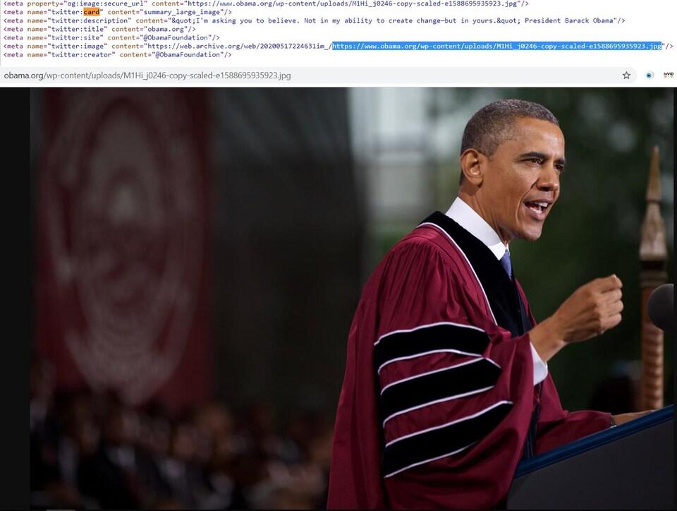 C'est du code HTML ainsi qu'une photo de l'ancien président.