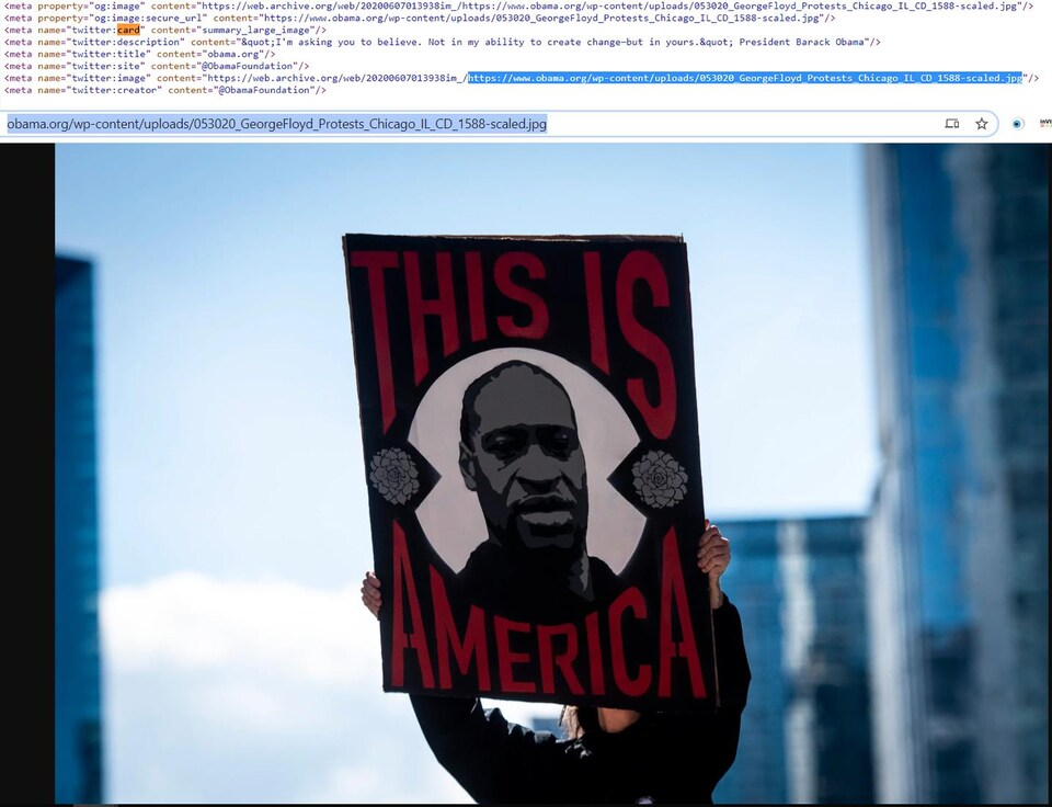 C'est du code HTML et une photo d'un placard avec une image de George Floyd.
