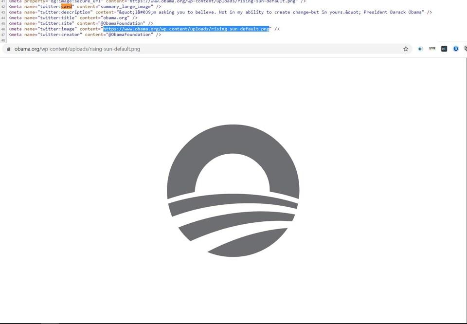 C'est du code HTML ainsi que le logo de la Fondation Obama.