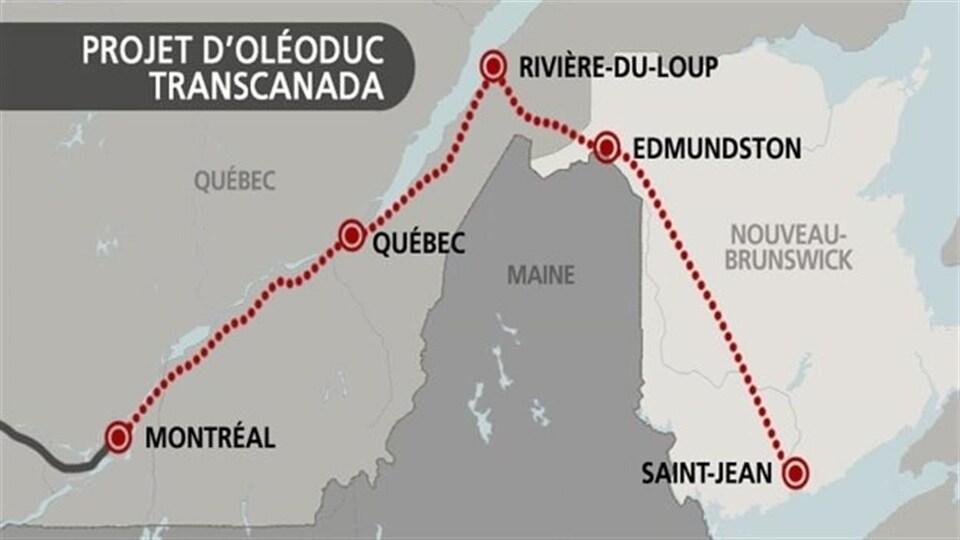 Carte des provinces de l'Est montrant le tracé du projet