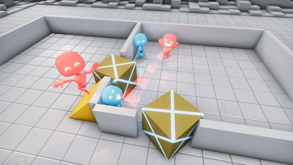 L'équipe rouge de robots virtuels d'OpenAI se sert d'une rampe pour franchir une barrière.