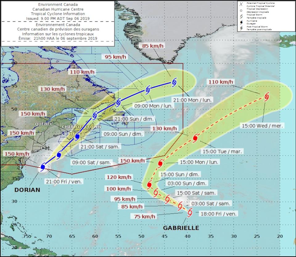 Carte des trajectoires de l'ouragan Dorian et de la tempête tropicale Gabrielle.