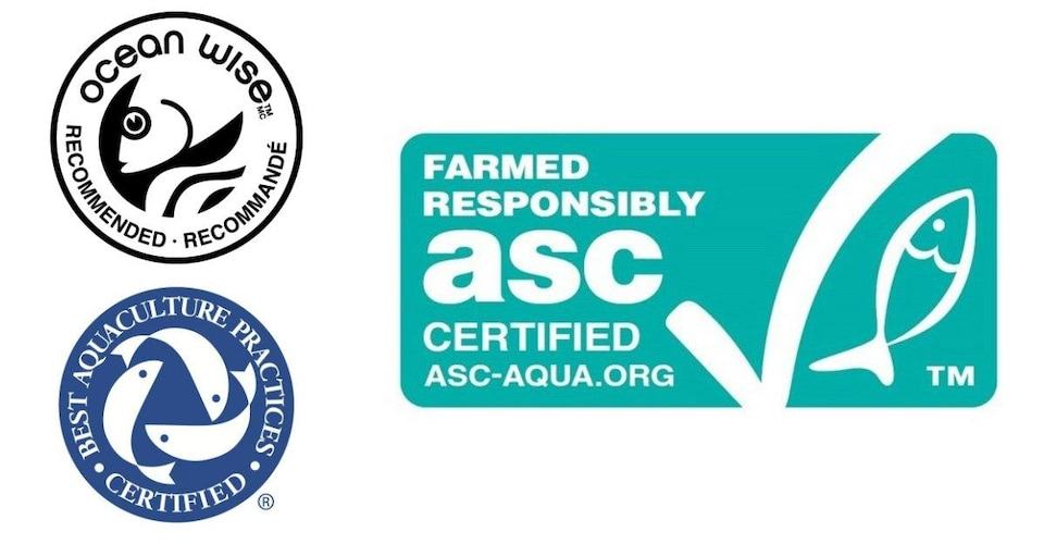 Les logos de Best aquaculture practices, Ocean Wise et Aquaculture Stewardship Council