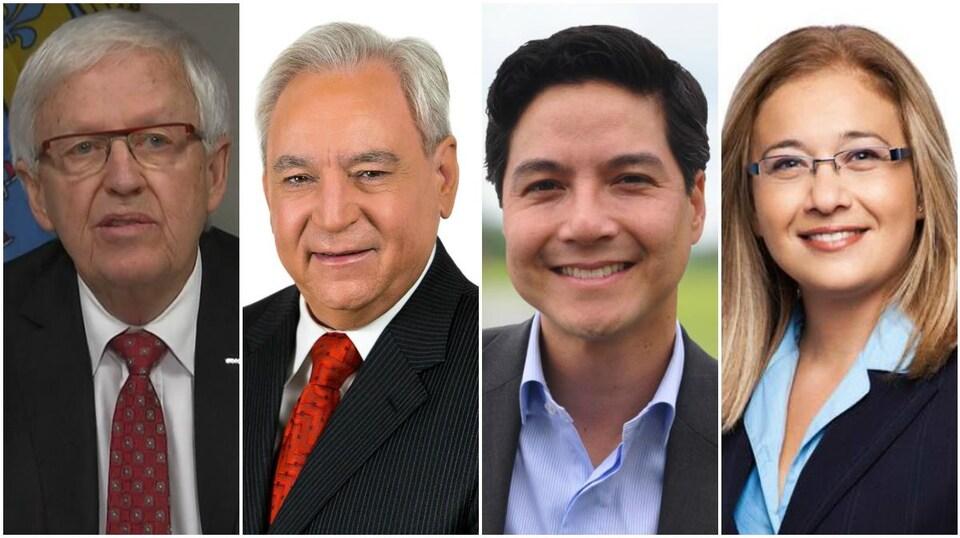 Photomontage des quatre candidats à la mairie de Brossard