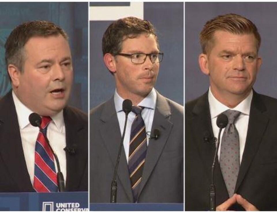 Jason Kenney, Doug Schweitzer et Brian Jean sont les candidats à la direction du Parti conservateur uni.