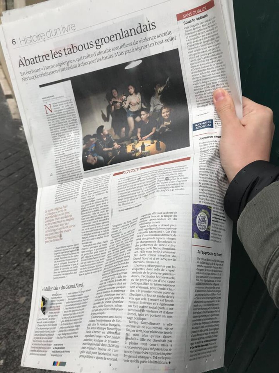 Un article de journal avec comme titre Abattre les tabous groenlandais.