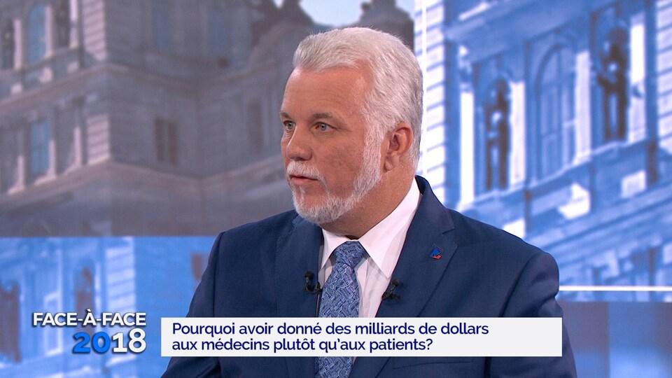 Philippe Couillard sur le plateau de TVA.