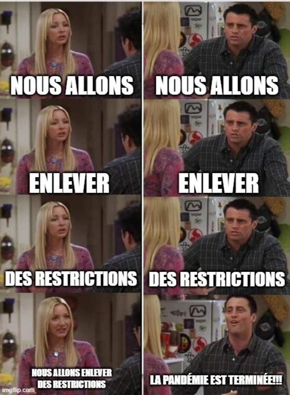 Phoebe essaie d'expliquer quelque chose à Joey, et ce dernier ne comprend pas le message.