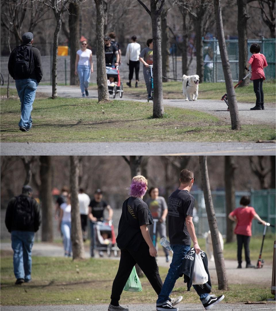 Deux photos de la même scène au parc Laurier. Dans celle du bas, on voit des passants en avant-plan, qu'on ne voit pas dans celle du haut.