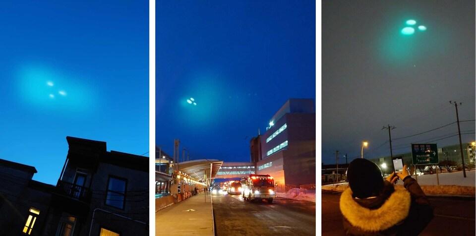 Trois photos de points de lumière dans le ciel à différents endroits à Montréal.
