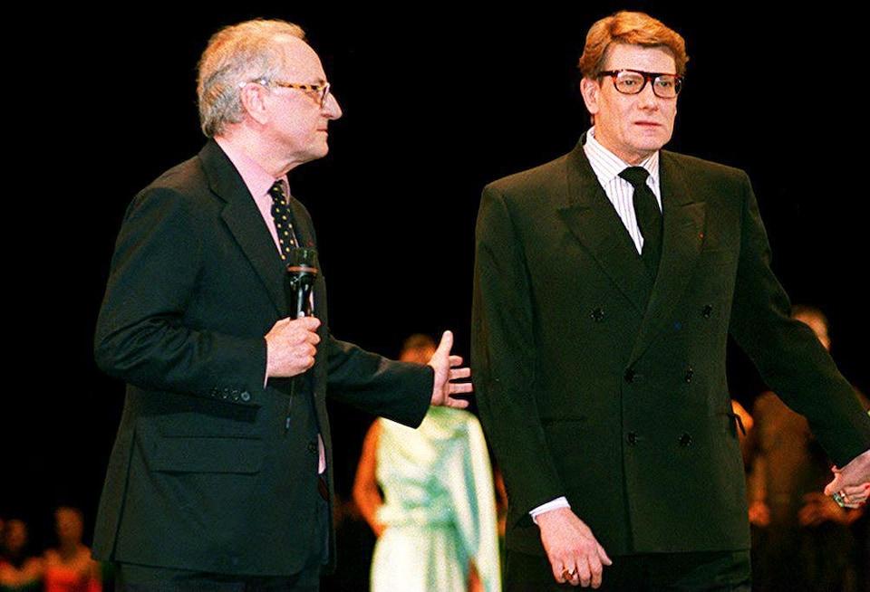 Pierre Bergé et Yves Saint Laurent au 30e anniversaire de la maison de haute couture en 1992