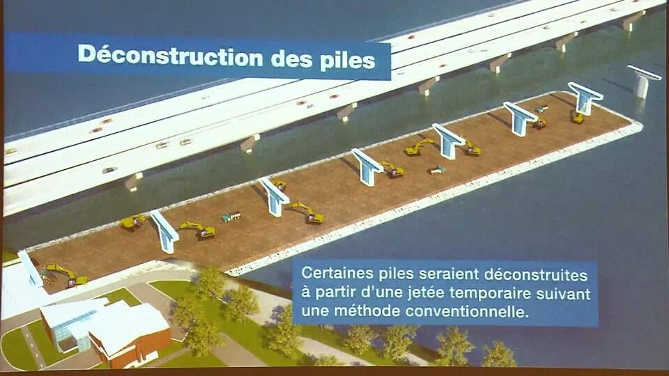 Déconstruction des piles du vieux pont Champlain