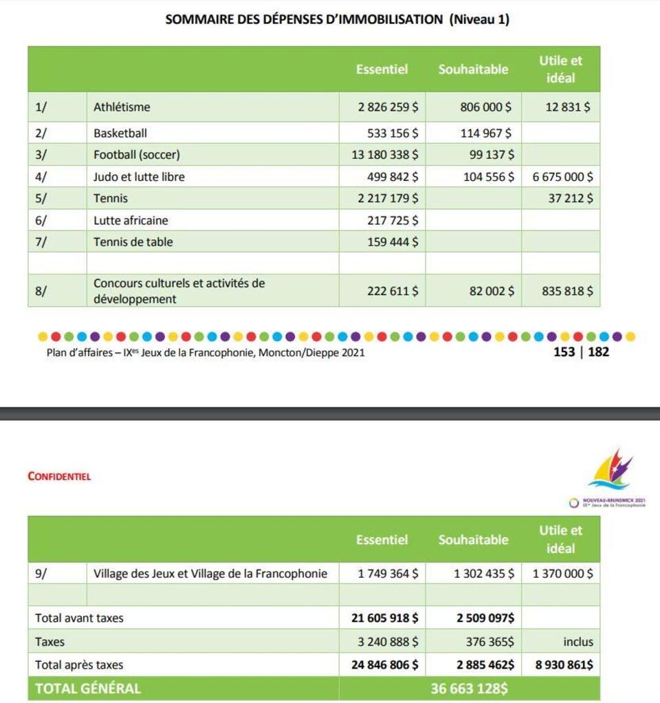 Le budget détaillé des dépenses d'immobilisation.