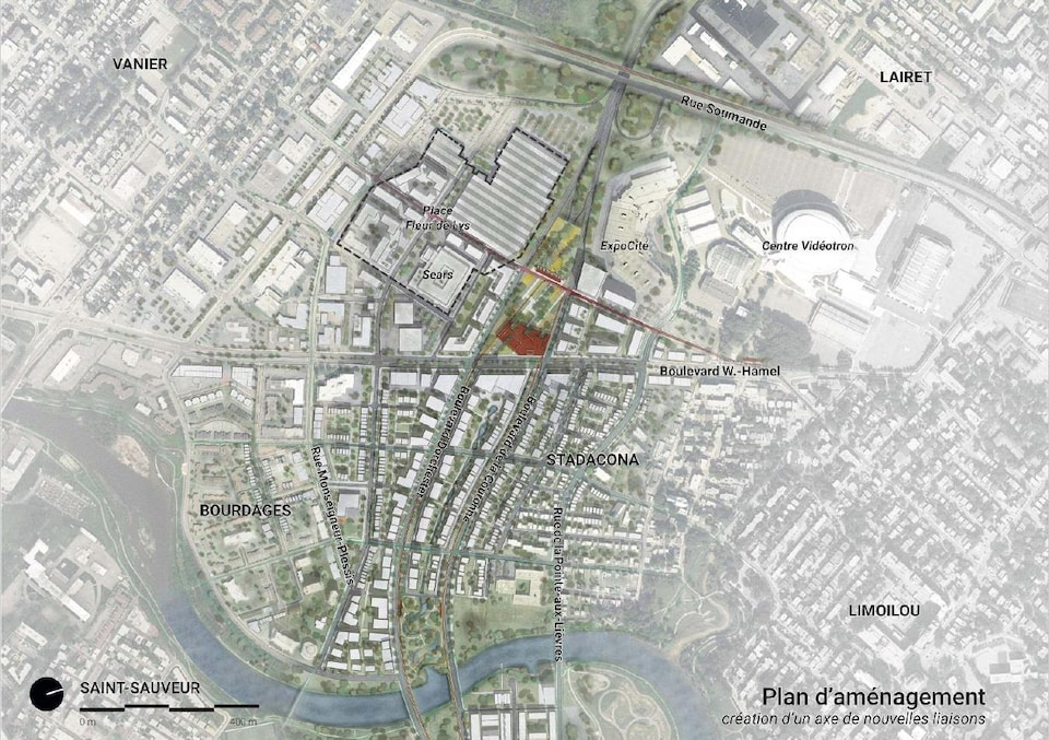 Carte du plan d'aménagement dans le secteur du boulevard Hamel représentant les boulevards de la Couronne et Dorchester