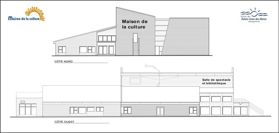 Plan de la future Maison de la Culture de Sainte-Anne-des-Monts