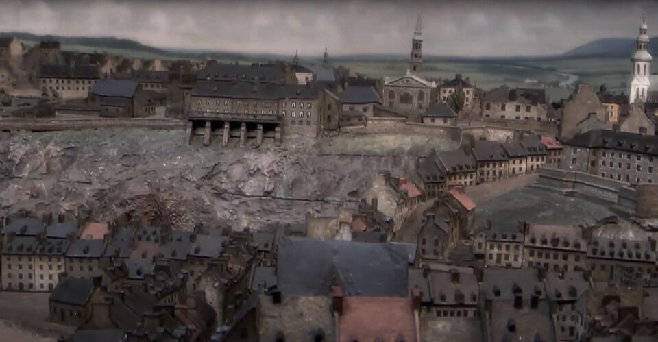 Le plan-relief Duberger montre le château Saint-Louis d'autrefois, sur le site occupé aujourd'hui par le château Frontenac et la terrasse Dufferin.