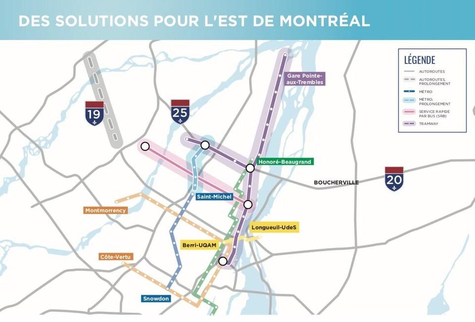 Plan montrant le prolongement de la ligne bleue, le service rapide par bus sur Pie-IX et la ligne de tramway