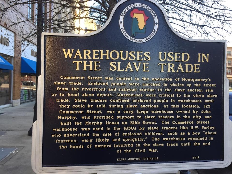 Une plaque historique à Montgomery