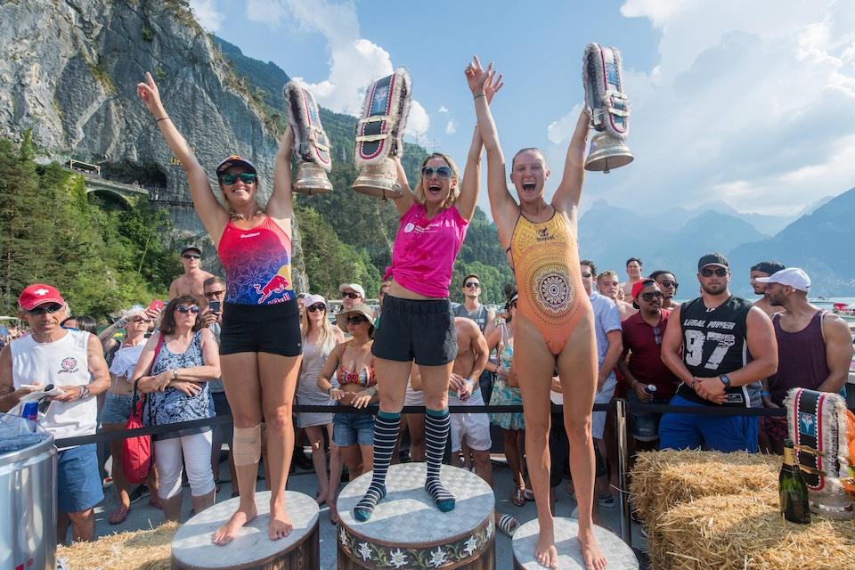Les trois plongeuses sur le podium au terme de l'épreuve en Suisse.