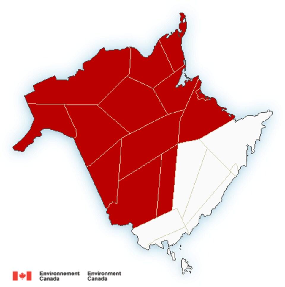 Carte du Nouveau-Brunswick avec les alertes météorologiques.