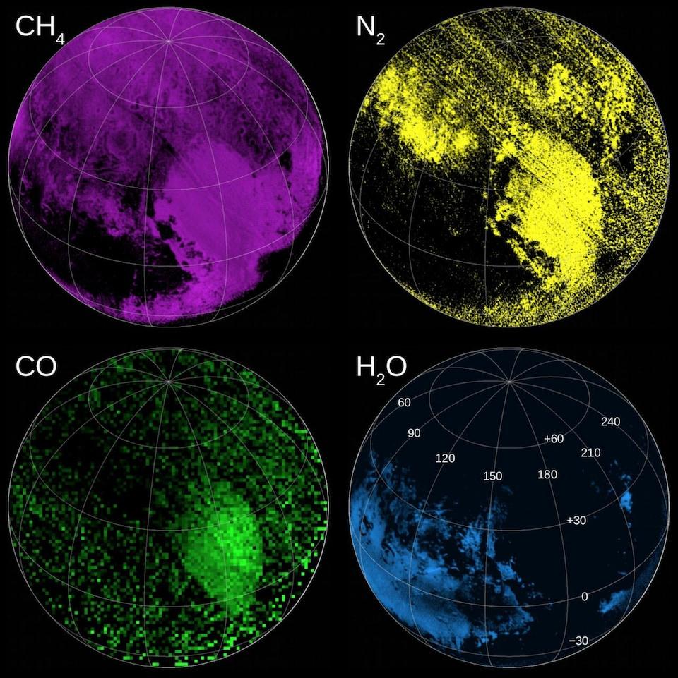 Répartition de la présence de méthane, de diazote, de monoxyde de carbone, et d'eau dans la Spoutnik Planitia.