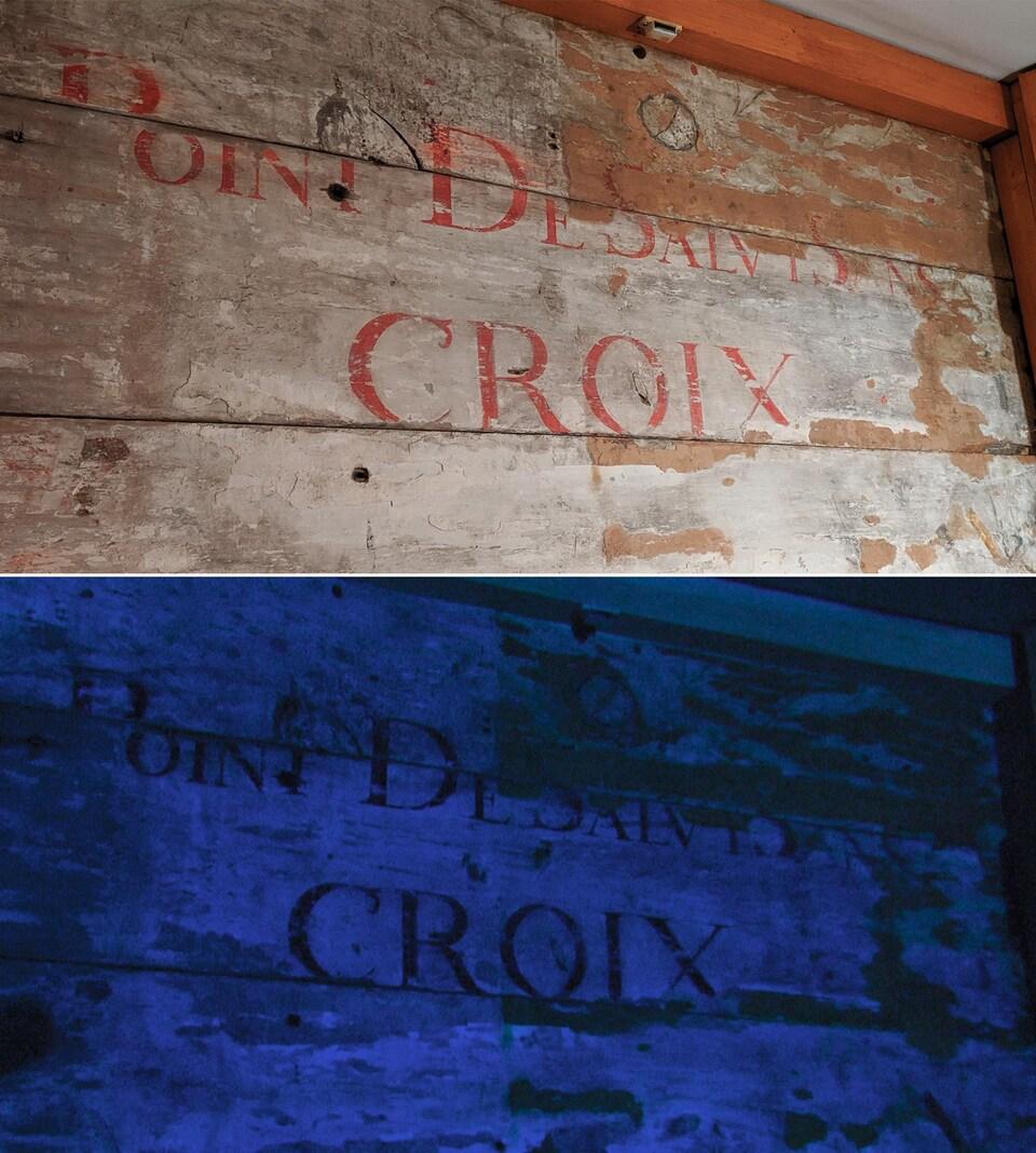 Une photo de la fresque avec un éclairage ultraviolet en haut et une autre photo avec un éclairage normal en bas.
