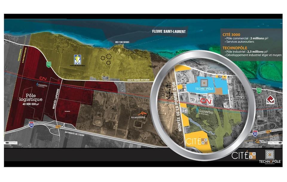 Plusieurs images du projet de pôle logistique circulent dont celle-ci qui provient de Grilli Samuel Consortium immobilier et du Fonds immobilier de solidarité de la FTQ. La mairesse de Contrecoeur qualifie ces images de conceptuelles.