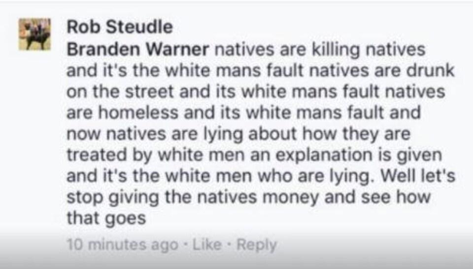 La police de Thunder Bay dit que c'est ce message publié sur Facebook qui a déclenché une enquête interne.