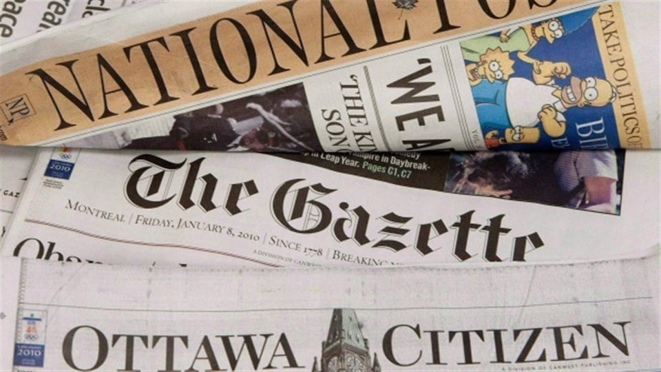 Les unes du National Post, The Gazette et The Ottawa Citizen.