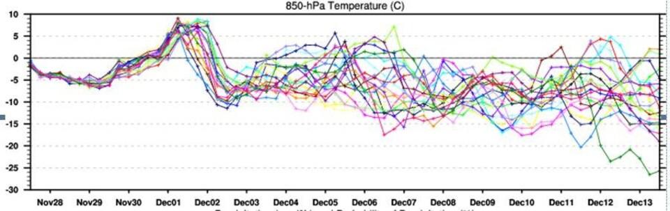 Dessin d'un graphique fait de courbes de couleurs différentes évoluant dans le temps.