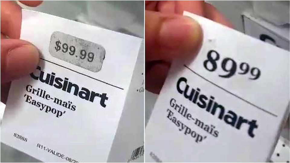 Deux photos de comparaison des prix d'une étiquette