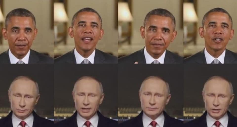 Des images des têtes de de Barack Obama et Vladimir Poutine.