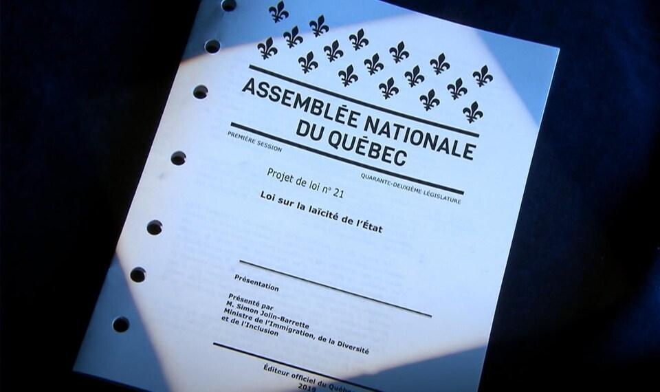 Image de la couverture du projet de loi sur la laïcité