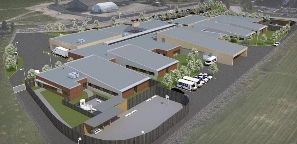 Une maquette en 3D de ce à quoi va ressembler le nouveau centre de surveillance de l'immigration de Laval.