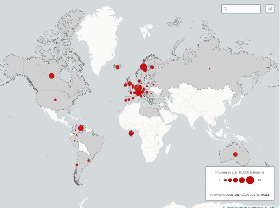 Carte du monde montrant les engagements qui ont été pris jusqu'à maintenant par les différents chefs d'État dans l'accueil de réfugiés syriens.