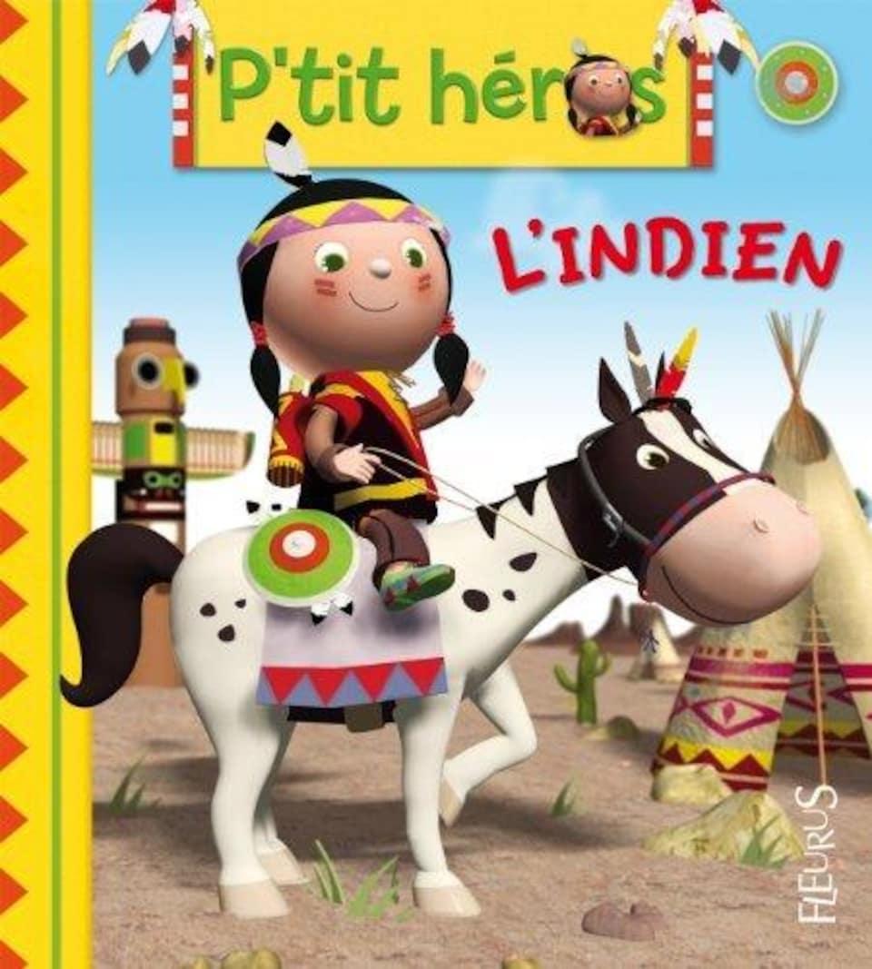 Un enfant autochtone dessiné sur un cheval.