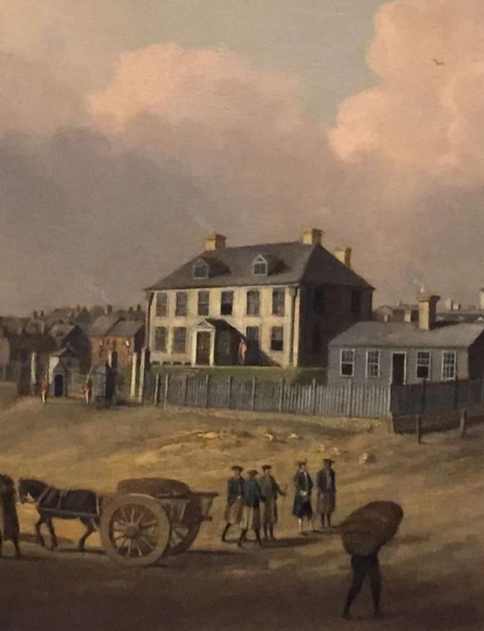Représentation picturale d'archives de Province House, en 1749. On y voit des personnes avec des charrettes poussées par des chevaux avec, au loin, le premier bâtiment de la législature néo-écossaise.