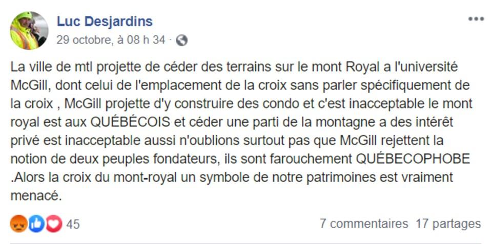 Selon une publication de Luc Desjardins, la Ville de Montréal veut céder le terrain de la croix du mont Royal à l'Université McGill, qui y construirait des condos.