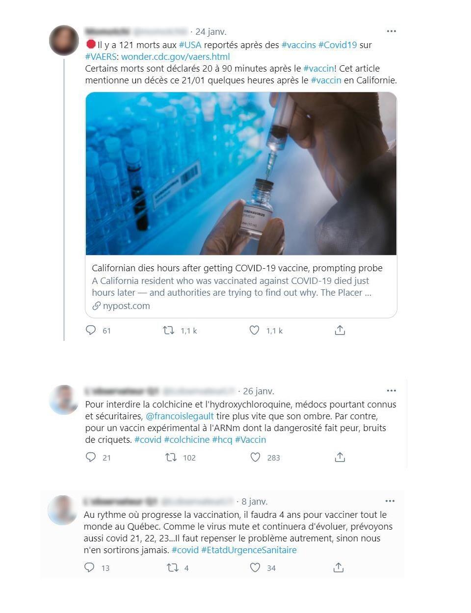 Montage de captures d'écran de publications Twitter.
