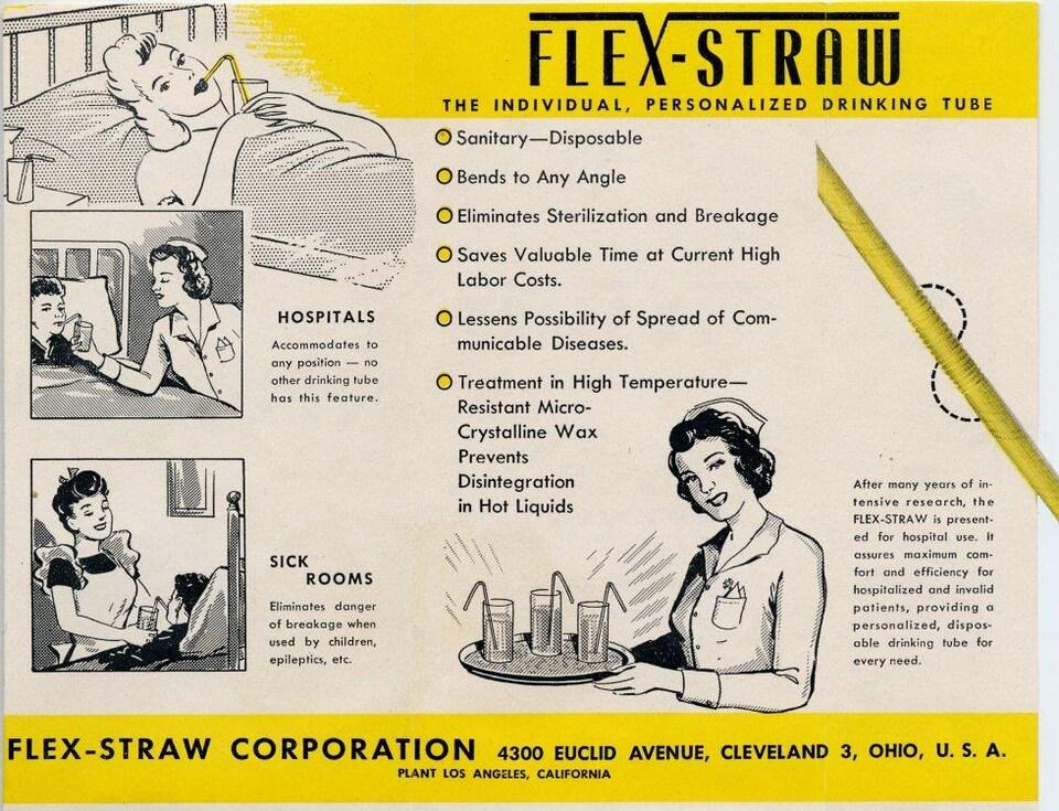 Un encart publicitaire qui fait la promotion de la paille pliable de la compagnie «Flex-Straw». On y voit des infirmières aider des patients alités à boire grâce à la paille pliable. On vante aussi les mérites de la paille.