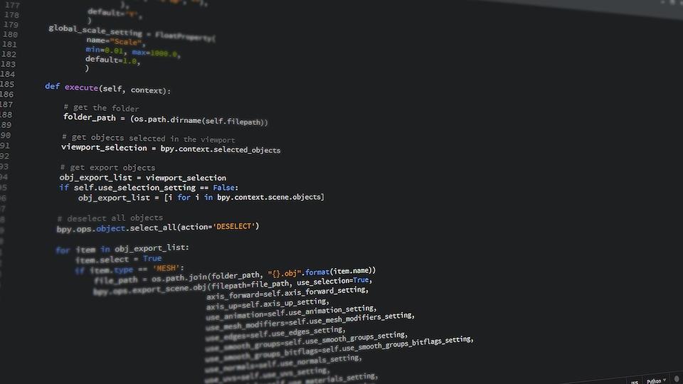 Un code informatique, des caractères blancs sur un fond d'écran noir.