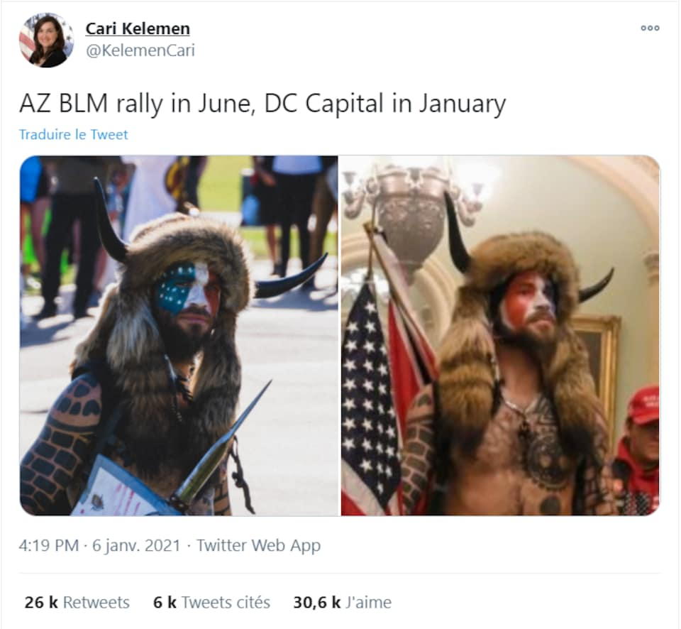Les deux photos dans le tweet montrent le même homme, portant un casque viking.
